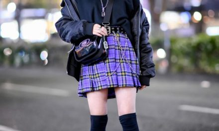 Harajuku Girl in Platforms & Purple Plaid Skirt w/ Never Mind The XU, DYOG & Demonia