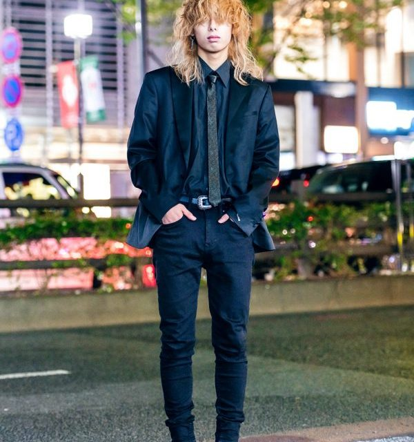 Harajuku Guy w/ Shaggy Hairstyle in Skinny Suit, YSL Necktie & Sparkling Heeled Boots