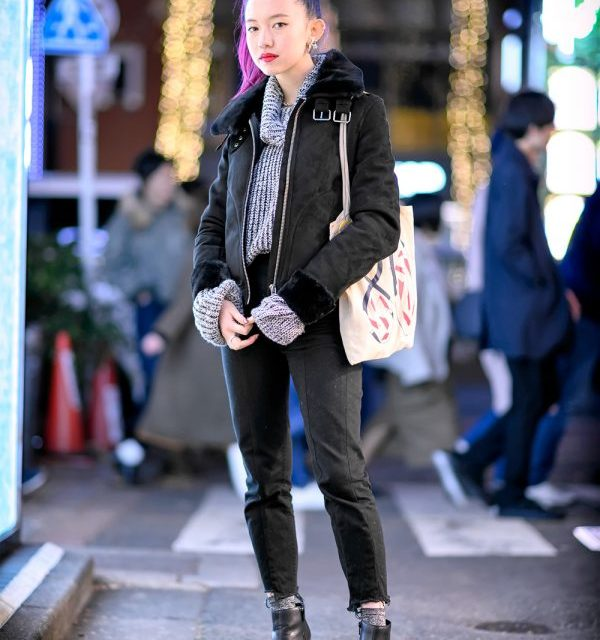 Pink-Haired Harajuku Girl in H&M Jacket, Thrift Knit Sweater, Lagua Gem Skinny Jeans & Shiseido Bag