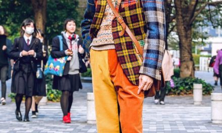 Retro Plaid Menswear Street Style in Tokyo w/ Brick Mens Clothing Sendai, Wingtip Shoes, Mickey Mouse Watch & Tanizawa Ginza Leather Bag