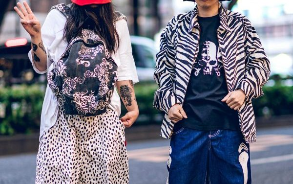 Buttstain Anti Fashion Street Styles in Harajuku w/ Tall Striped Top Hats, Polka Dot Shorts, Zebra Jacket, Dragon Backpack & Converse Sneakers
