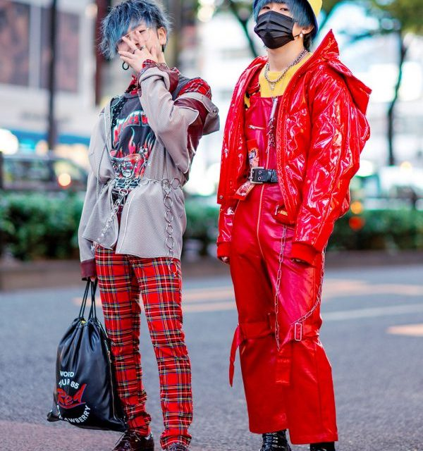 Harajuku Menswear Street Styles w/ Patent Red Puffer Jacket, Plaid Pants, Face Mask, Kawi Jamele & Oh Pearl