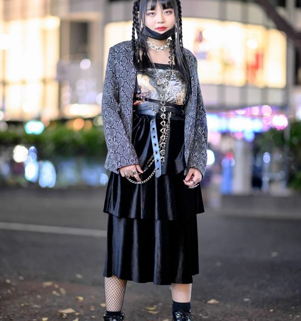 Snakeskin Print Jacket, Face Mask, Leather Harness Belt, Platform Boots & Silver Rings in Harajuku
