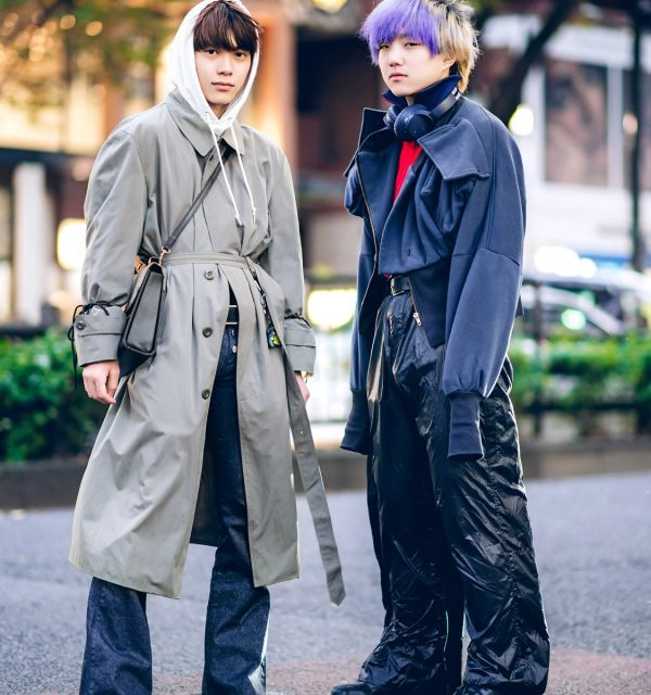 Tokyo Winter Menswear Street Styles w/ Purple Bangs, Faith Tokyo, Belted Trench Coat, Adidas, Dressedundressed & Nike