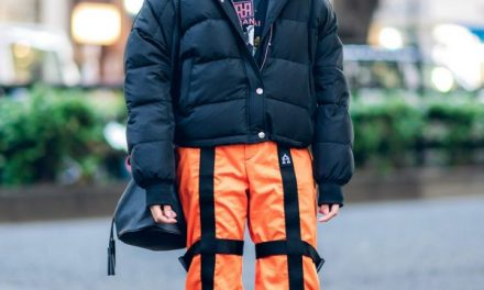 Tokyo Winter Street Style w/ Purple Hair, Jouetie Puffer Jacket, Orange Strap Pants, Barbed Wire Necklace, Bucket Bag & Vans Sneakers