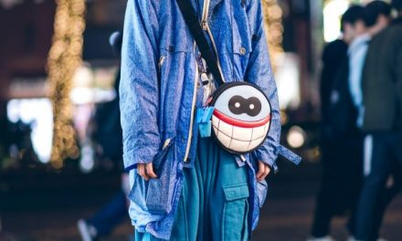 All Blue Harajuku Streetwear w/ Blue Hair, W&LT Puk-Puk Face Bag, Vintage Jacket, King Size Pants & Reebok Sneakers