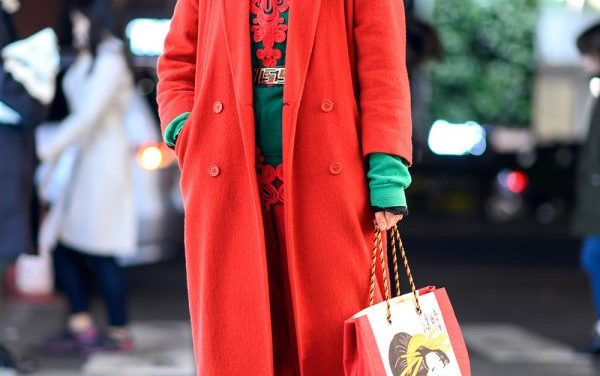Colorful Tokyo Vintage Streetwear Style w/ Red Coat, Green Hoodie, Graphic Bag, Skechers & Kappa