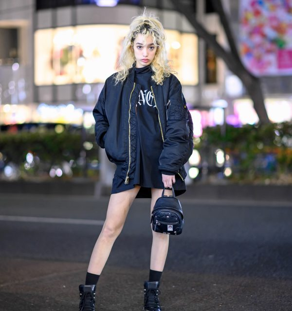 Harajuku Girl in Alyx Bomber Jacket, Vyner Articles Dress & Neith Nyer x New Rock Boots