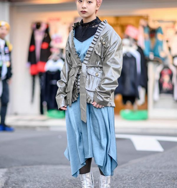 Harajuku Girl w/ Pink Hair in Vintage Silver Pleated Jacket From Shury Tokyo & Silver Maison Margiela Tabi Boots