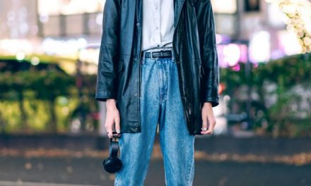 Japanese Male Model Street Style w/ Vintage Black Leather Jacket, Cropped Jeans & Dr. Martens Boots