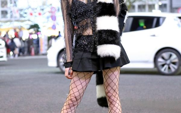 Kyoto Pop Icon & Kawaii Japanese Monster Girl Asachill w/ Pink Bob, JOYRICH Sheer Top, Faux Fur Stole & Zine Boom Box Bag