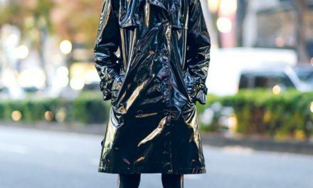 Tokyo Street Style w/ Jean Paul Gaultier Vinyl Trench, Pointy Glasses & Batman Sneakers