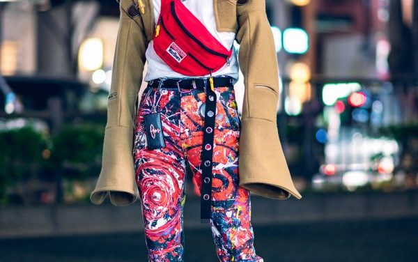 Charles Jeffrey Tokyo Streetwear Style w/ Painted Pants, Cropped Hooded Jacket, Yellow Hair, Vintage Waistbag, Eytys & JBCG