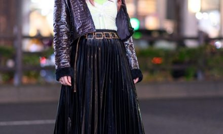 Chic Harajuku Street Style w/ Pinnap Cropped Jacket, Gallerie Lace Cami, Pleated Skirt, Vidakush Necklace & Demonia Platforms