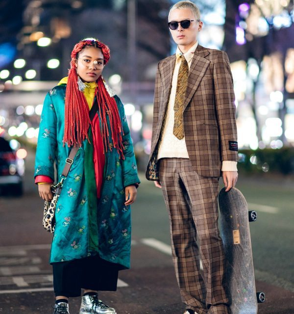 Eclectic Tokyo Street Styles w/ Skateboard, 70's Plaid Suit, Christian Dior Satin Coat, Yohji Yamamoto, Gallerie, Kenzo & Dr. Martens