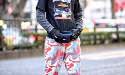 "French Fashion Model in Harajuku w/ Face Tattoos, Color Camo, Tommy Waist Bag & Nike Air Max 98 ""Highlighter"" Sneakers"