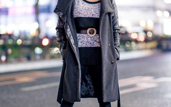 Japanese Dancer in Monochrome Tokyo Street Style w/ Bershka Coat, Hoop Earrings, H&M Belt & Randa Leather Boots