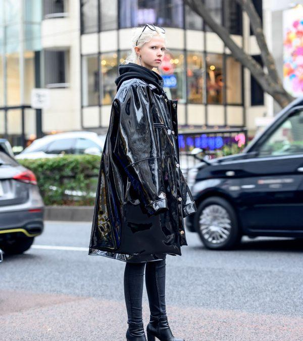 Harajuku Girl in Oversized Patent Leather Coat by Japanese Brand Saint Maria, Skinny Jeans & Boots