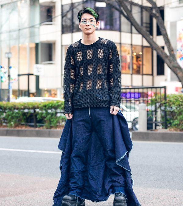 Winged Denim Jumpsuit Tokyo Street Style w/ Comme des Garcons Cutout Top, Handmade Fashion & Demonia Platforms