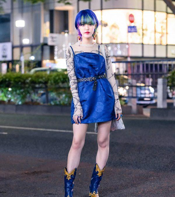 Tokyo Streetwear Style w/ Colorful Hairstyle, Vintage Bead Earrings, X-Girl Dress, MYOB Tattoo Shirt, UN3D Tote & Yello Cowboy Boots