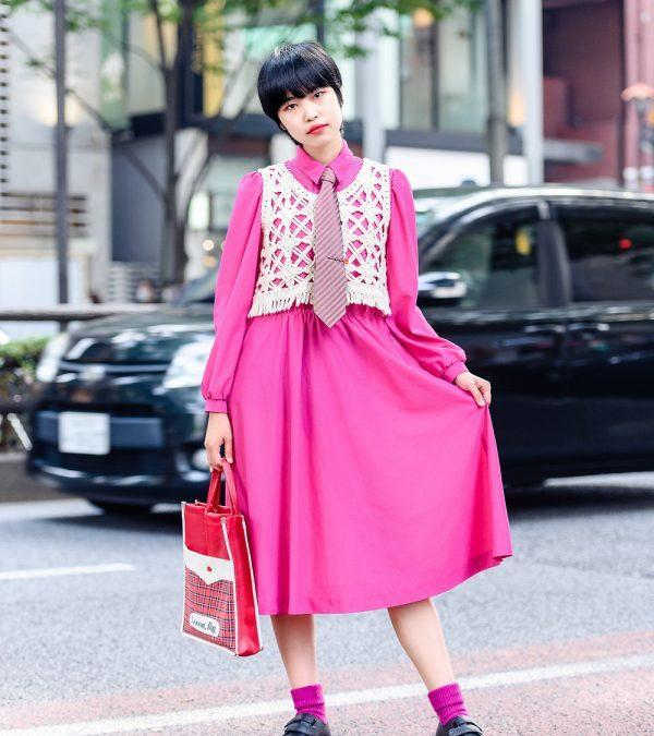 Harajuku Girl in Necktie Street Style w/ Fuchsia Dress, Rubycase Knit Vest, Lancel Paris, Plaid Lesson Bag & Dr. Martens Velcro Shoes