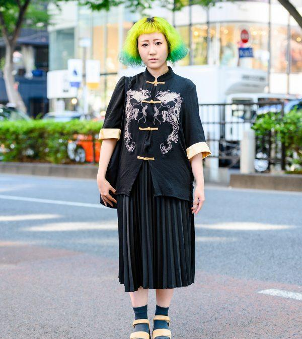 Green-Yellow Hair Harajuku Street Style w/ Dragon Knot Buttons Shirt, Ginga Nagareboshi Gin Bag, Pleated Skirt & Yosuke Platforms