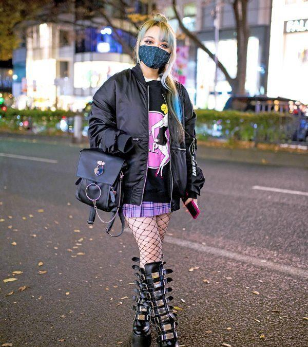 Female Japanese Rock Guitarist in Harajuku w/ Kawi Jamele Bomber Jacket, Nyulycadelic & Tall Demonia Buckle Boots