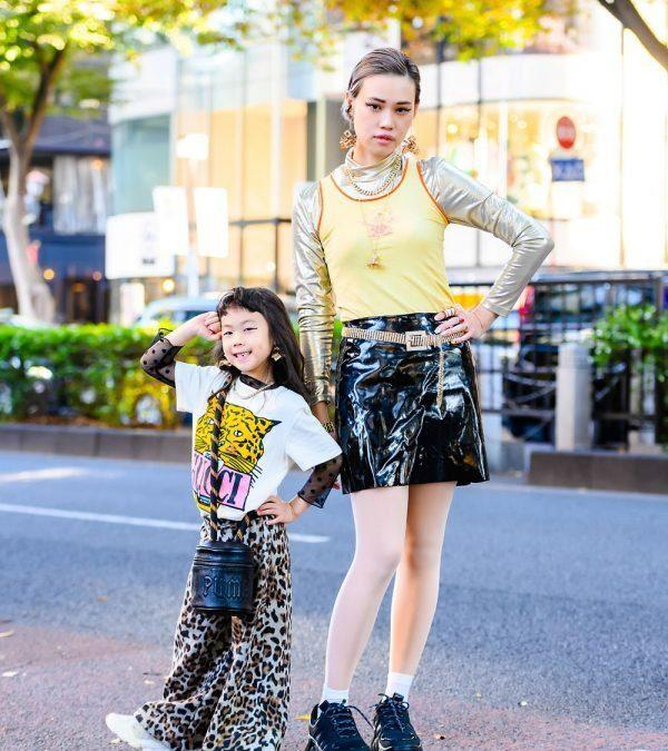 Harajuku Mother & Daughter Street Style w/ The Ivy Tokyo Earrings, Vivienne Westwood, Gucci Tiger Shirt, NLF Top, Puma x Fenty Bucket Bag & FILA Sneakers