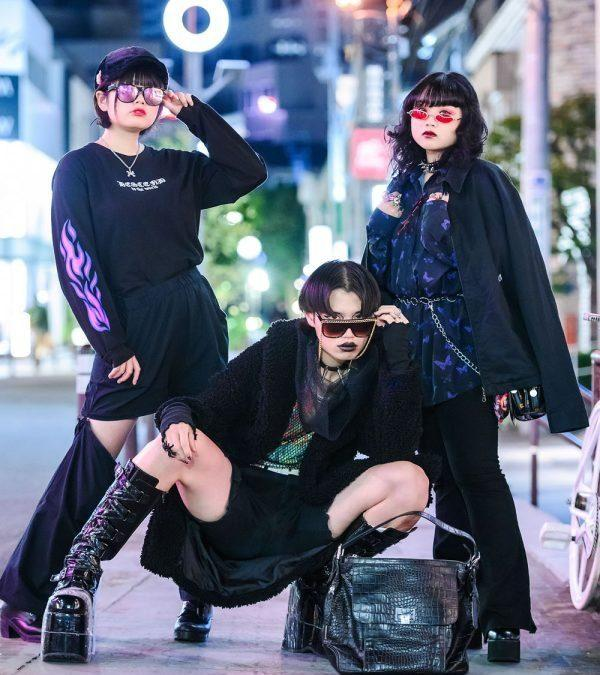 Japanese Trio's Dark Harajuku Street Styles w/ Vampire Fangs, Spiked Chokers, Spider Ring, Azul by Moussy, Pink Latte, WEGO, Le Tanneur, Anap & Demonia Tall Boots